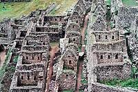 Detail, the ancient Inca city of Machu Picchu, 1987, Peru, South America