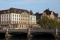 Switzerland, Zurich, Rudolf Brun Bridge