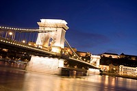 Chain Bridge and Danube river at night, Budapest, Hungary, Eastern Europe