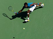 Gael Montfils, France, bird's-eye view, U.S. Open 2009, Grand Slam Tournament, USTA Billie Jean King National Tennis Center, New York, USA