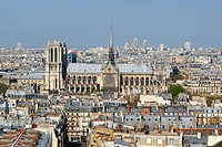 General View of Paris with the Cathedral of Notre Dame. Paris, France, Europe.