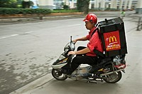 Macdonalds hauler carrying an order to an office in Shanghai