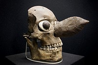 Late Postclassic period Aztec skull mask with flint knife from the Templo Mayor Museum in Mexico City