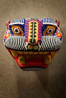 Beaded jaguar mask made by the Huichol indians of central Mexico
