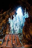 Limestone steps leading to antechamber, Batu Caves, Selangor, Malaysia