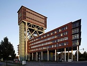 Hammerhead tower of the former Zeche Minister Stein mine, today office building and service center, Dortmund, North Rhine_Westphalia, Germany, Europe