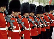 Welsh Guards on parade, London, England, UK
