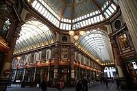 Covered Victorian arcade, Leadenhall Market, City, London, England, UK