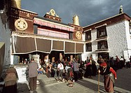 Tibetans prostrating in front of Temple, Lhasa, Tibet