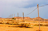 Electrical power supply lines in the desert Las Bardenas, Aragon, Spain