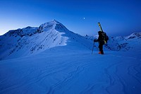 Ski touring in front of the sunrise, Verwall Alps, North Tyrol, Austria, Europe