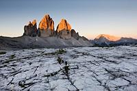 Tre Cime di Lavaredo, Three Peaks, evening sun, Sexten Dolomites, Alto Adige, Italy, Europe