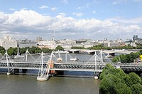 Overview, in the foreground the Golden Jubilee Bridge over the River Thames, London, England, United Kingdom, Europe