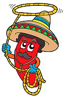 Cartoon Mexican chilli with lasso