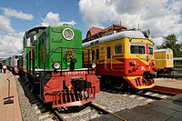 Diesel locomotive TE1_20 and electric train ER_38, exhibits of the Moscow Railway Museum, Moscow, Russia