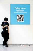 Twitter news portal, blogging at the Entertainment Area of the Gamescom, the world's largest fair for computer games in the Messe Koeln Cologne Exhibi...