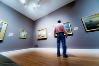 Man looking at paintings in a museum