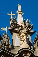 Plague column at Malostranske namesti square in Mala Strana quarter of Prague Czech Republic Europe