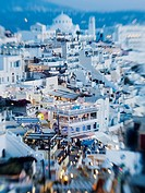 View of the mountaintop city of Fira, Santorini, Greece