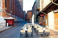 Sidewalk cafe at a street, Piazza Maggiore, Bologna, Emilia_Romagna, Italy