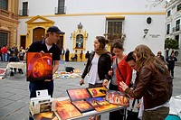 Marcadillo Arte de los domingos, art market on Sundays in the museum square, Plaza del Museo Sevilla, Sevilla, Andalusia, Spain, Europe