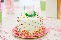 Close_up of a birthday cake with candles