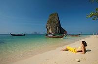 Woman at Laem Phra Nang Beach, Krabi, Thailand, Asia