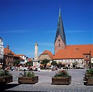 Market square with Michaelis Church in Eutin city, Schleswig_Holstein, Germany, Europe