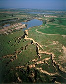 Aerial photograph of the Bsor wadi in the Northern Negev