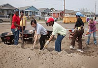 New Orleans, Louisiana - Student volunteers from Wellesley College/Brown University work on construction of new homes being built by Habitat for Human...