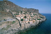 Aerial photograph of the Greek city of Monemvasia on the island of Peloponnesus