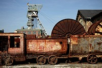 Old coal train of the Zeche Zollern mine in Dortmund, part of the Route of Industrial Culture through the Ruhr area in North Rhine-Westphalia, Germany...