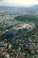 Aerial photograph of the Acropolis in the modern Greek city of Athens