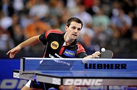 Multiple European champion in singles, doubles and team Timo Boll, Germany, table tennis EM 2009, Porsche-Arena, Stuttgart, Baden-Wuerttemberg, German...