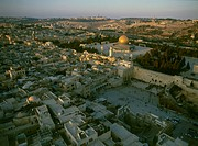 Aerial photograph of the western wall and the Temple mount in the old city of Jerusalem