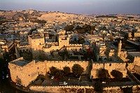 Aerial photograph of the Tower of David in the old city of Jerusalem