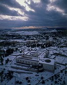 Aerial photograph of Israel's Supreme Court in Jerusalem at winter