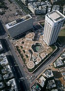 Aerial photograph of Gan Hair shopping mall and Tel Aviv´s City hall