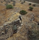 Aerial photograph of an ancient wall near the modern village of Rosh Pina in the Upper Galilee