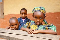Two girls, one boy, Mbororo ethnic group, Bamenda, Cameroon, Africa