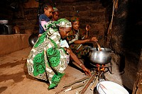 Women cooking in the hut, Mbororo ethnicity, Bamenda, Cameroon, Africa