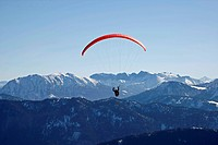 Paraglider on Mt. Brauneck, Lenggries, Upper Bavaria, Bavaria, Germany, Europe,