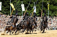 Four black knights riding horses, Knights´ Tournament in Kaltenberg, Upper Bavaria, Bavaria, Germany, Europe