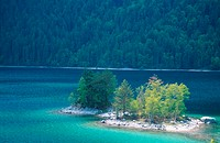 island with trees in the Eibsee, Germany, Bavaria