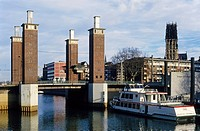 Schwanentorbruecke bridge from the ´50s, Inner Harbour, Duisburg, Ruhr Area, North Rhine_Westphalia, Germany, Europe