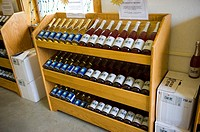Wine Bottle Display in Winery in Finger Lakes Region New York