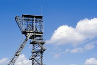 Shaft tower, a former mine Waltrop I / II, Waltrop-Brockenscheidt, Ruhr Area, North Rhine-Westphalia, Germany, Europe