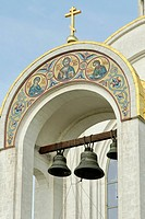 Bells of the Saint George orthodox church built in commemoration to Soviet soldiers killed in action during the Great Patriotic War from 1941 to 1945,...