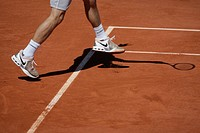 Legs and shadow of Tommy Haas, Germany, tennis, the ITF Grand Slam tournament, French Open 2009, Roland Garros, Paris, France, Europe