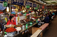 Korean food, small restaurant, food stall at a market in Seoul, South Korea, Asia